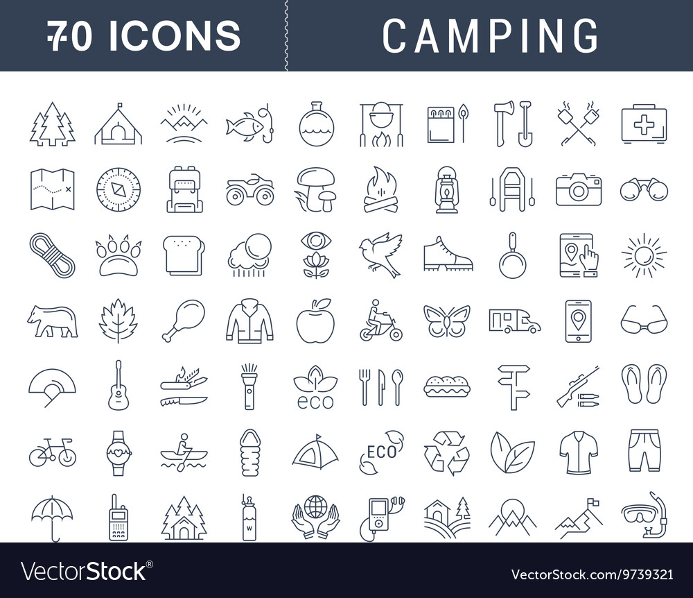 Set Flat Line Icons Camping