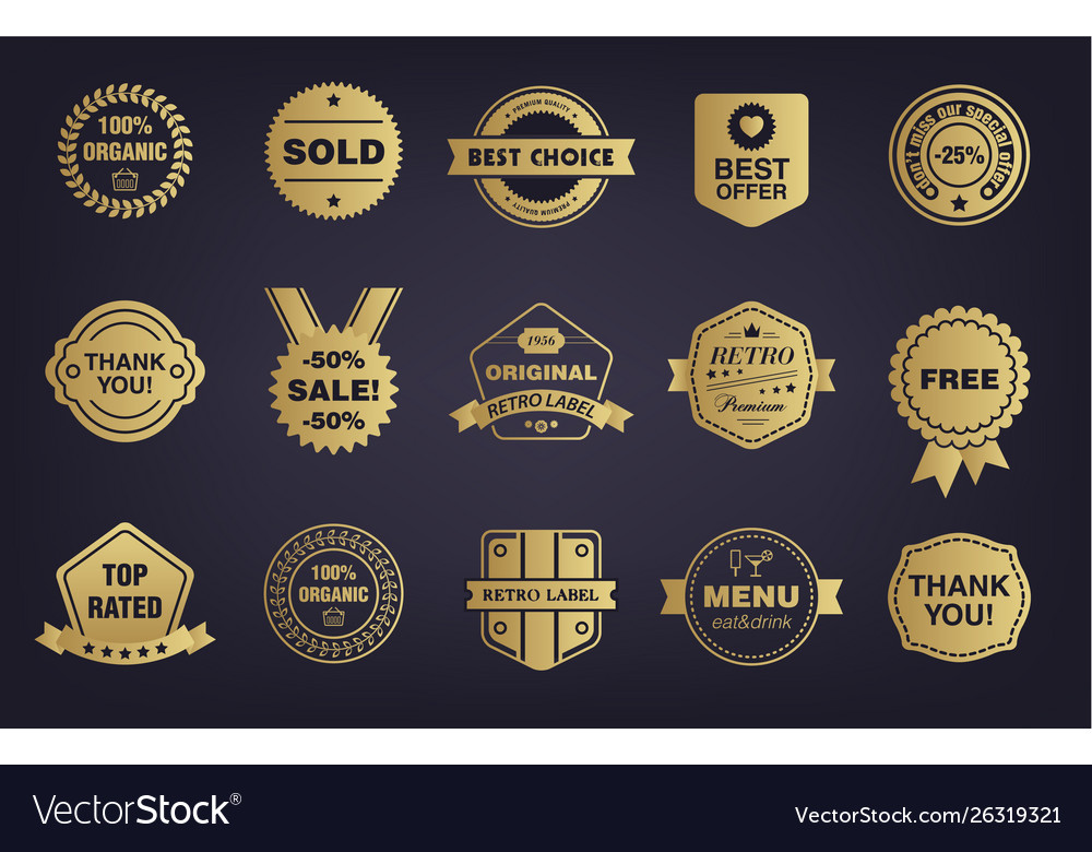 Set golden shop vintage retro badges
