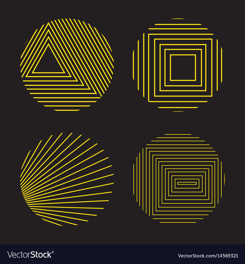 Spirograph style decorative design elements vector image