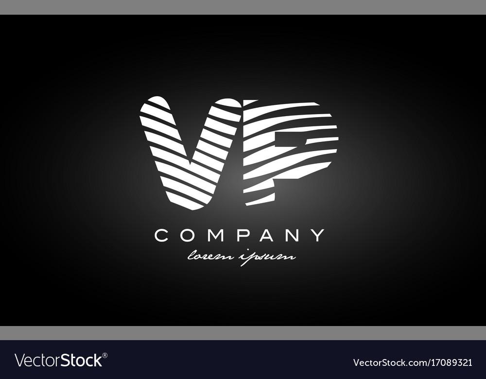Vp v p letter alphabet logo black white icon