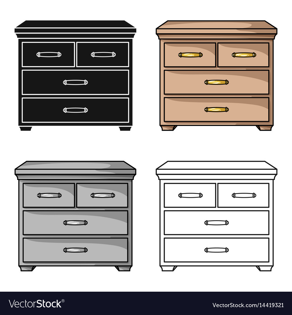 Wooden Cabinet With Drawers Icon In Cartoon Style Vector Image
