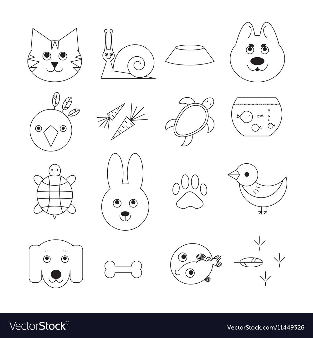 Animal related icon or pet logo set