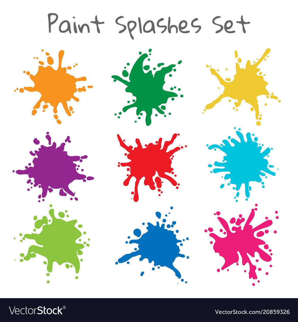Colorful paint splatters vector