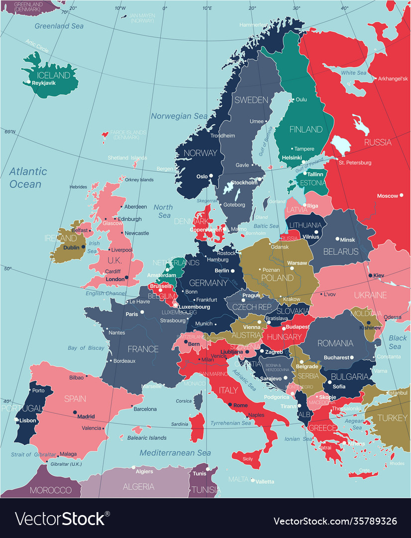 Europe detailed editable map