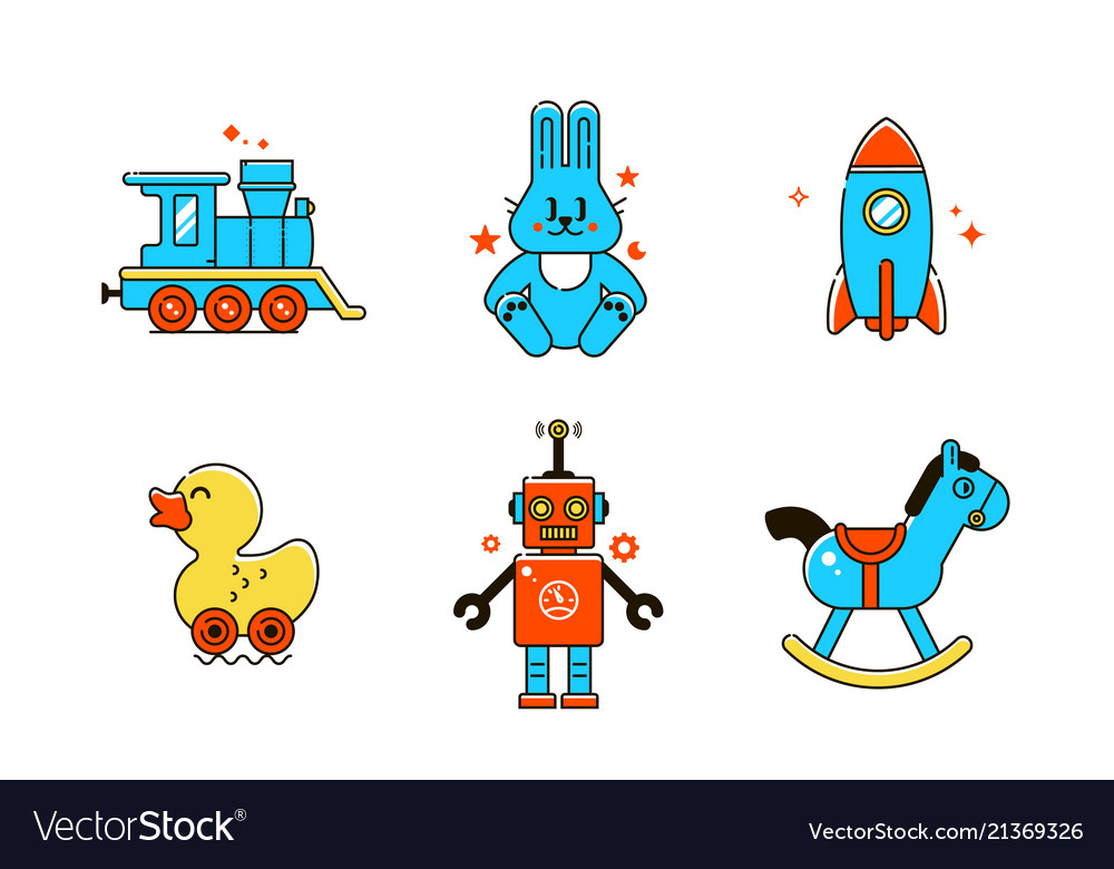 Funny baby icons colorful line