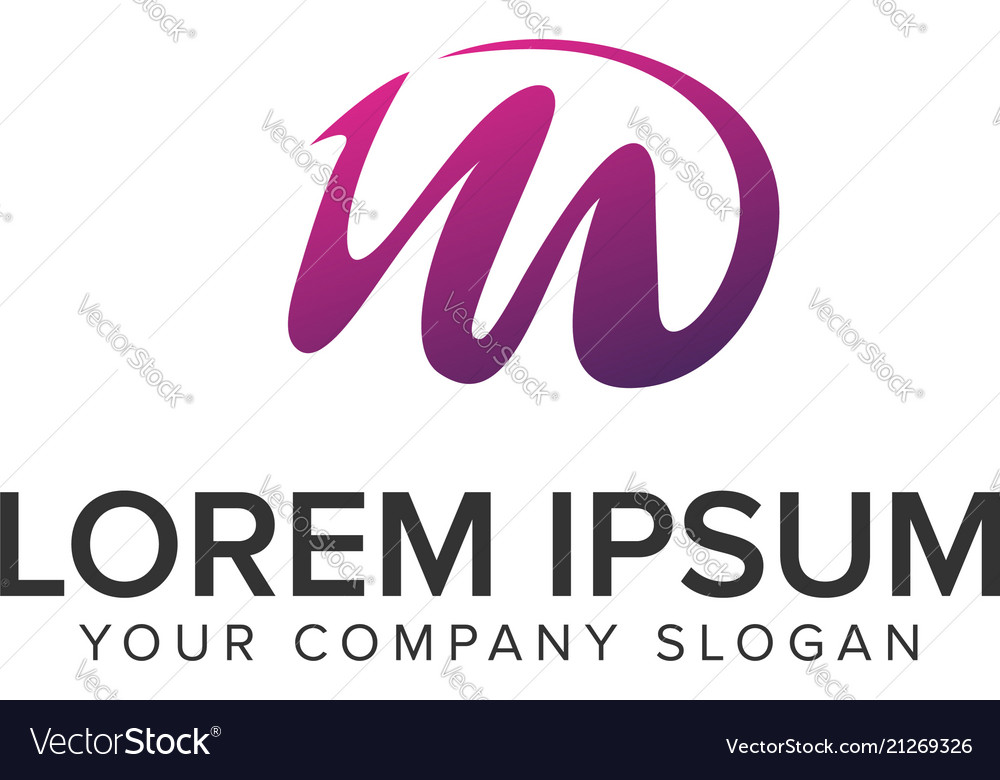 Letter m purple creative logo design concept