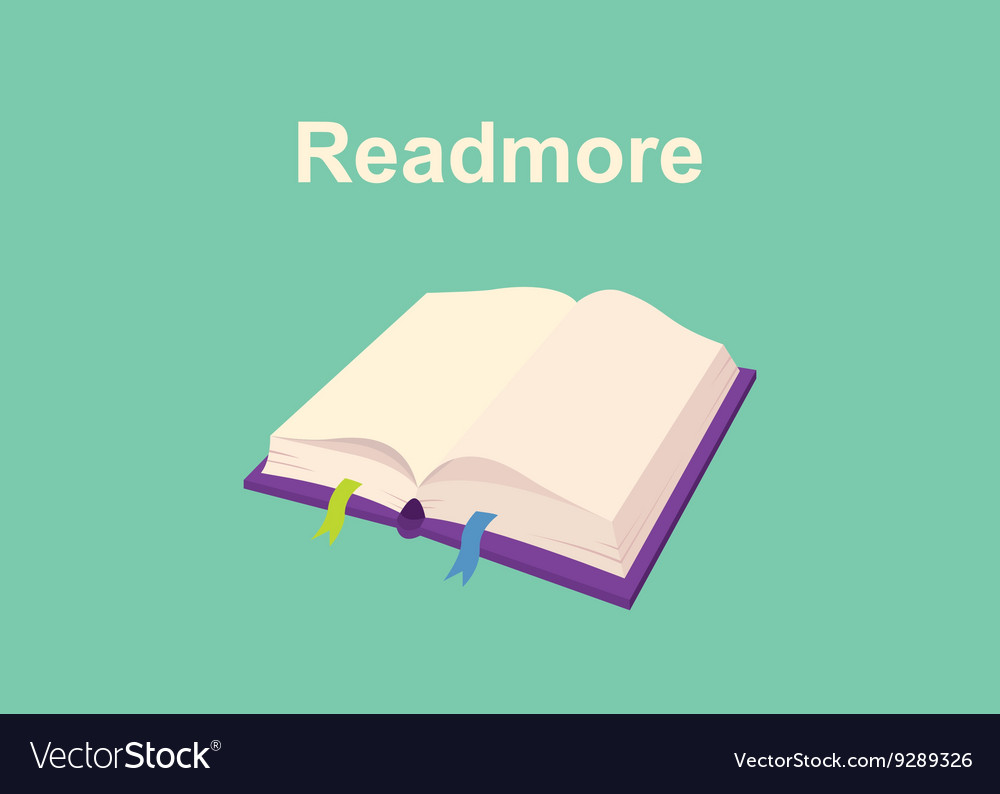 Rtead more text sign poster with book and text on