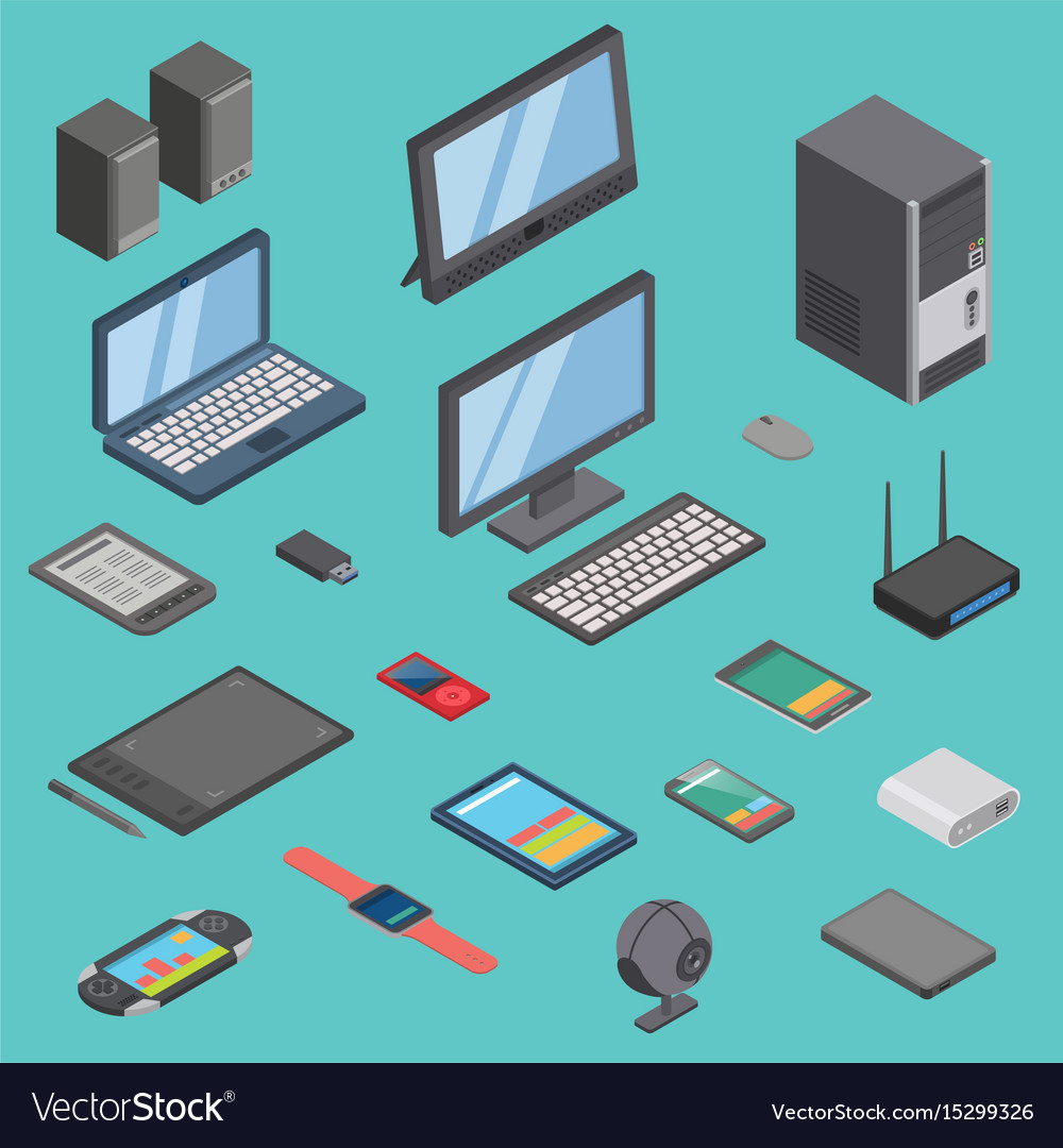 Set of isometric computer gadget devices