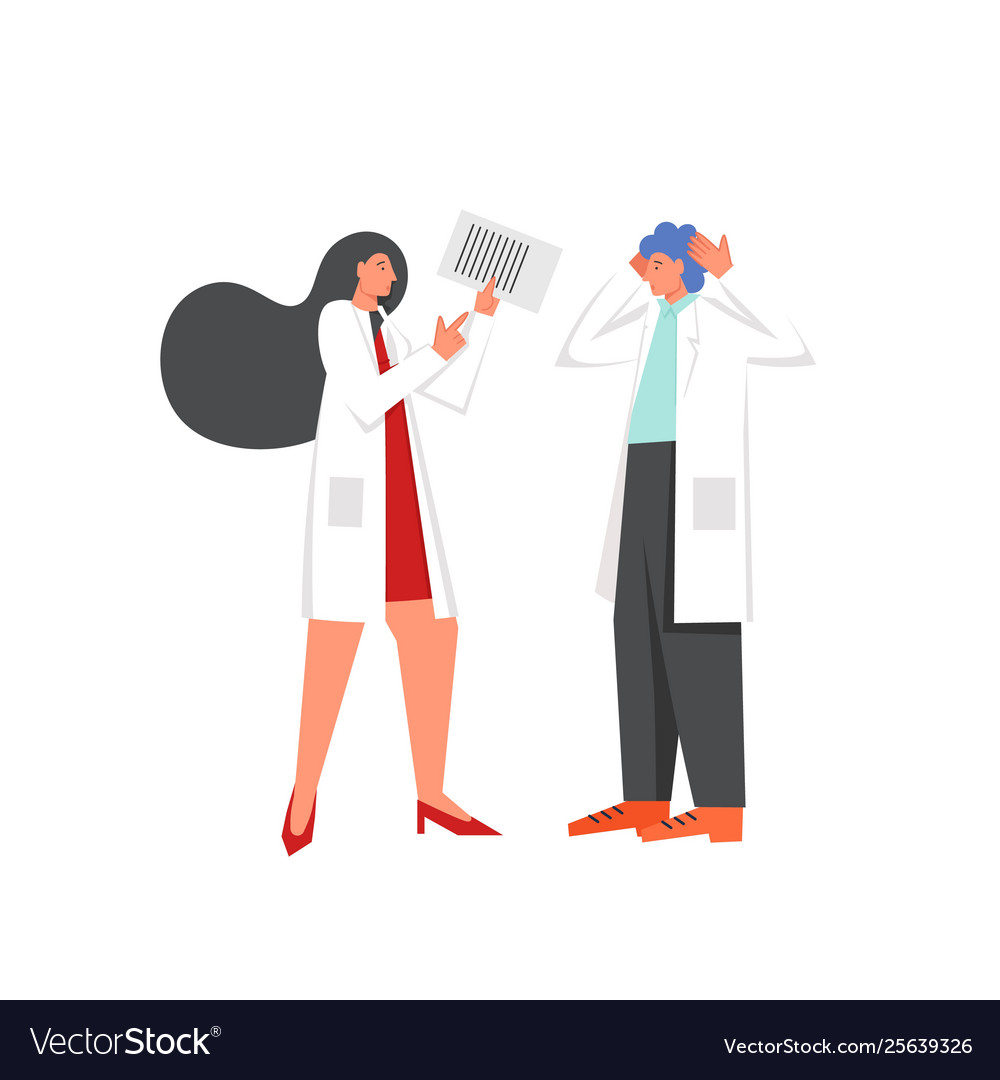 Two doctors discussion flat style design