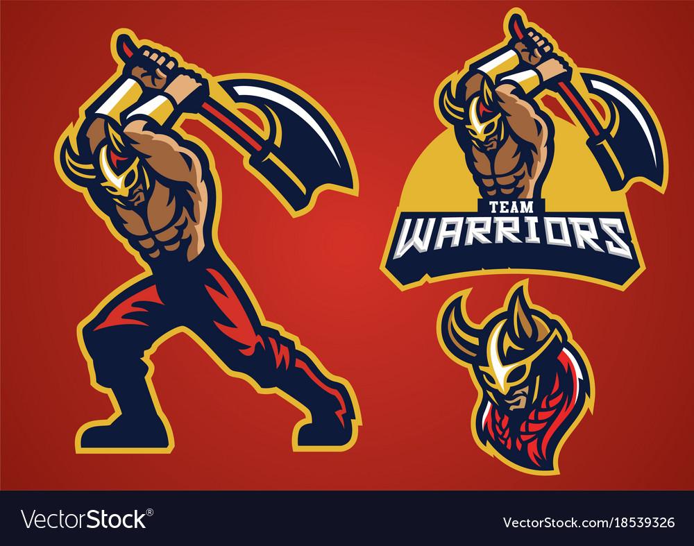 Viking mascot set swing the axe vector image
