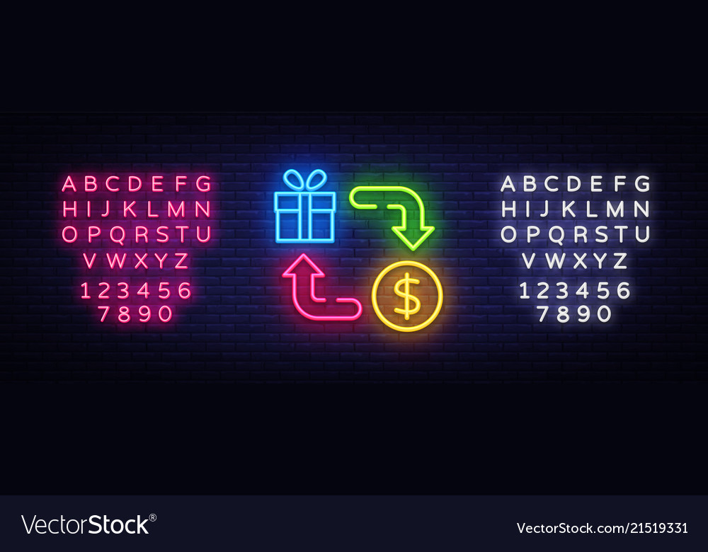 Cash back neon icon cash back neon sign