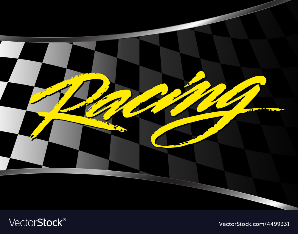 Checkered flag background with racing script vector image