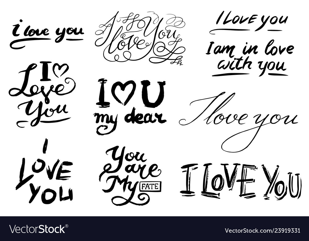 I love you text hand drawn lettering collection