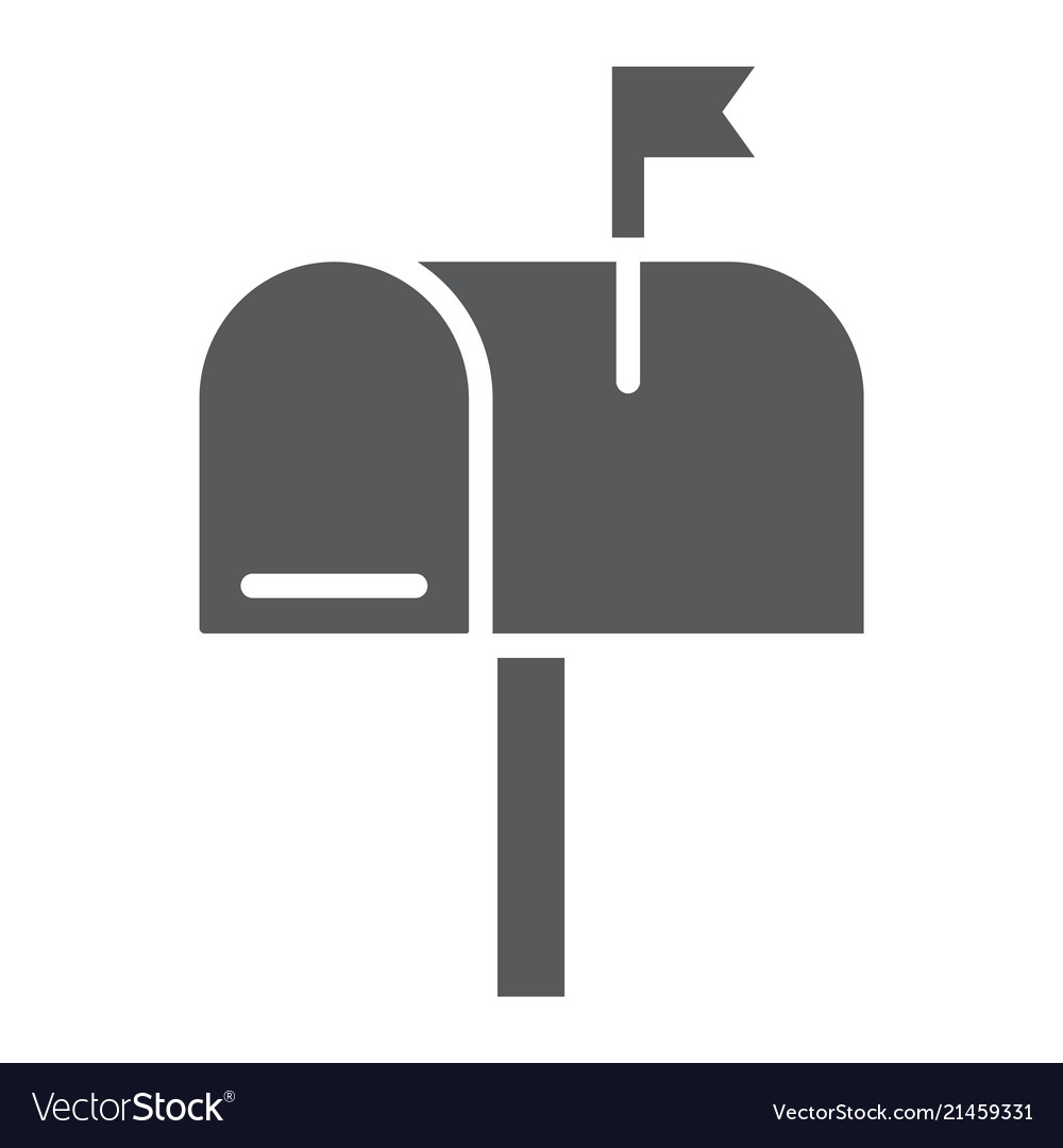 Mail Box Glyph Icon Letter And Post Mailbox Sign Vector Image