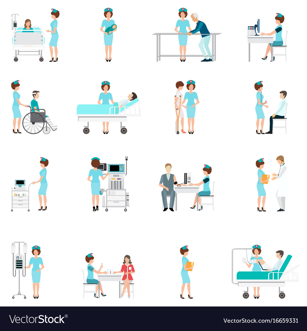 Nurse healthcare decorative icons set with