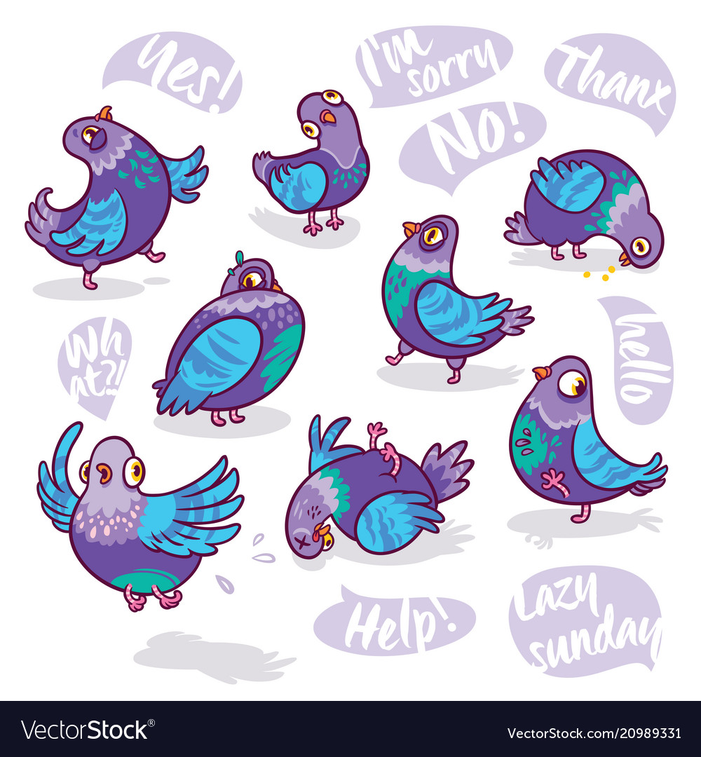 Set of cartoon pigeons design for stickers pins