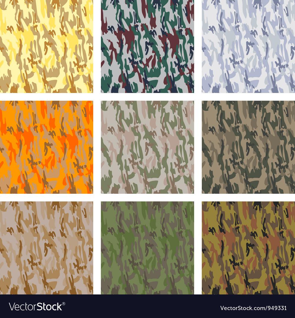 Set of seamless camouflage patterns