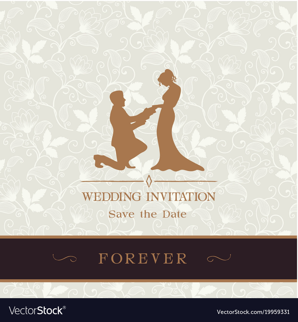 Wedding invitation save the date forever retro flo