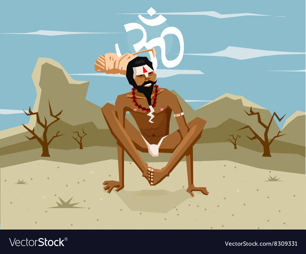 Yogi in asana vector image
