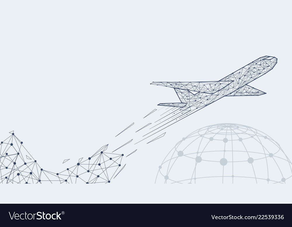 Abstract polygonal airliner with earth symbol