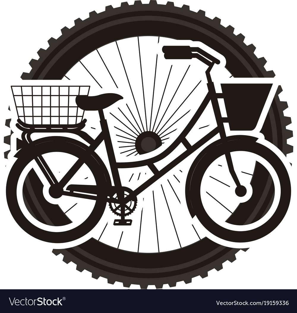 Antique bicycle with basket with wheel background vector image