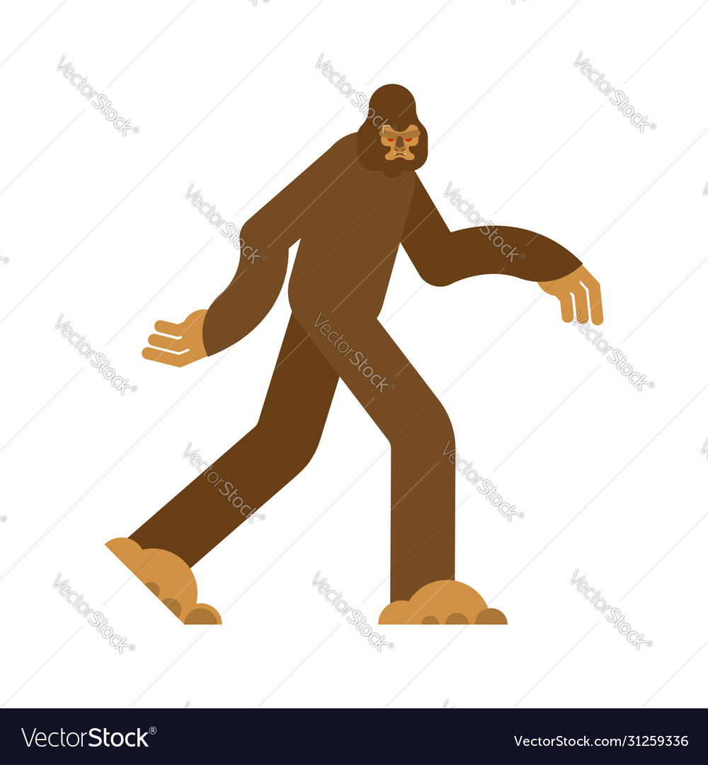 Bigfoot isolated yeti brown abominable snowman