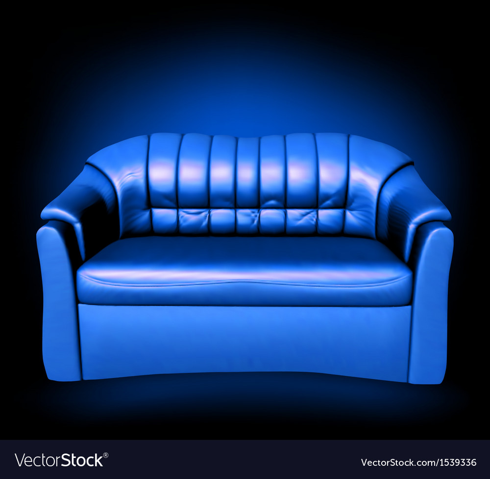 Blue leather sofa Royalty Free Vector Image - VectorStock