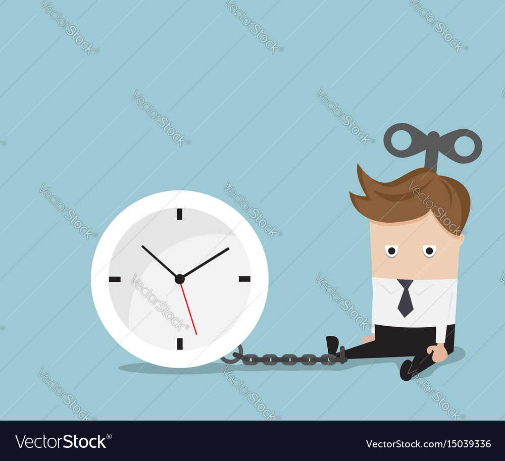 Businessman gets chained with clock