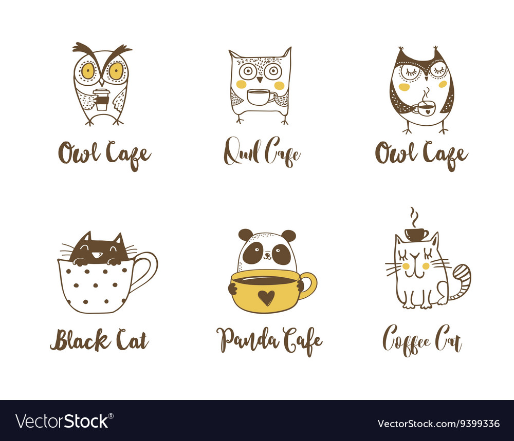 Cute owls cat and panda drinking coffee