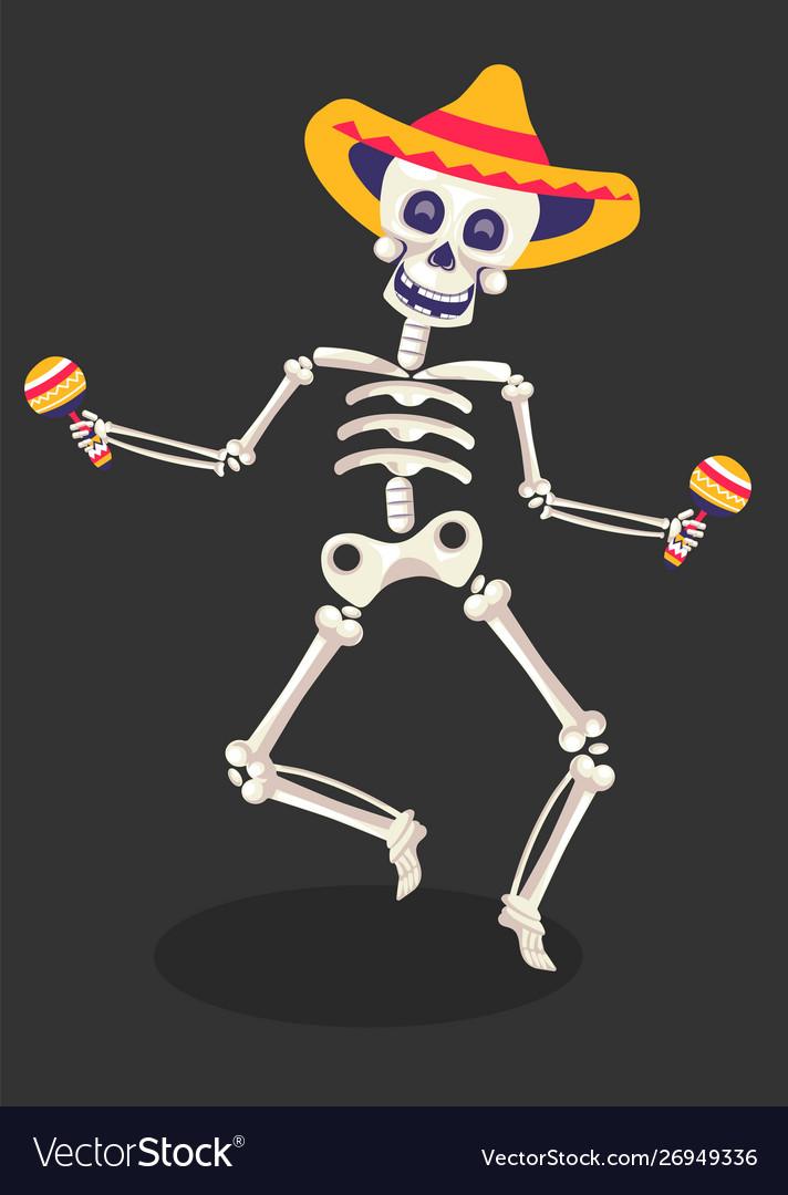 Day dead symbol skeleton in sombrero with