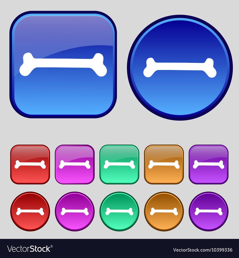Dog bone icon sign A set of twelve vintage buttons