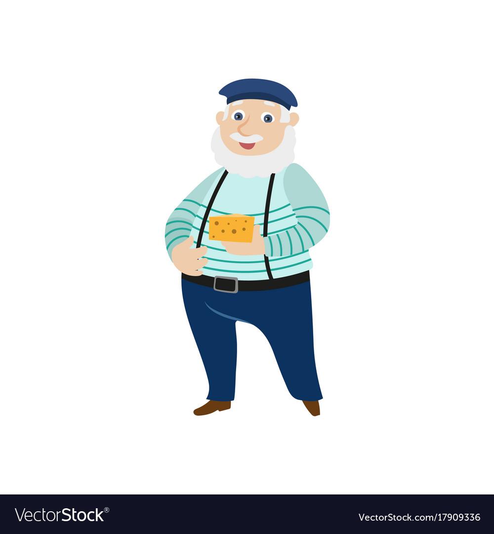 Flat man cheese beret pants on suspenders vector image