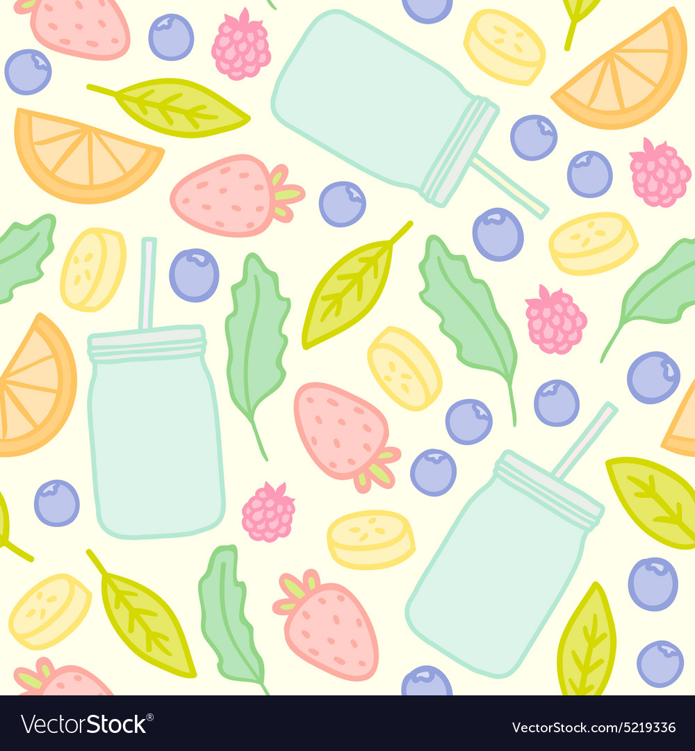Fruits berries and smoothie jars outline seamless
