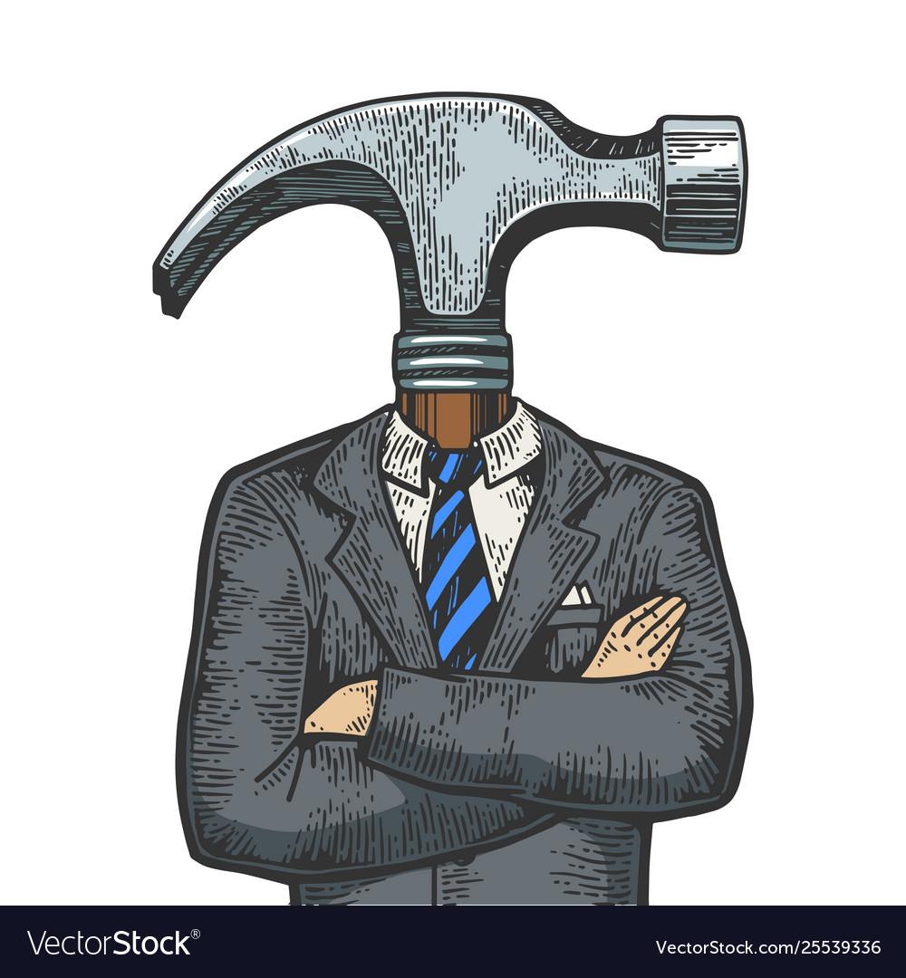 Hammer head businessman sketch engraving