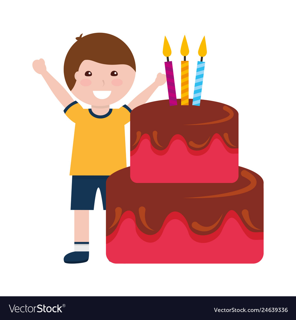 Marvelous Happy Boy Birthday Cake With Candles Royalty Free Vector Personalised Birthday Cards Veneteletsinfo