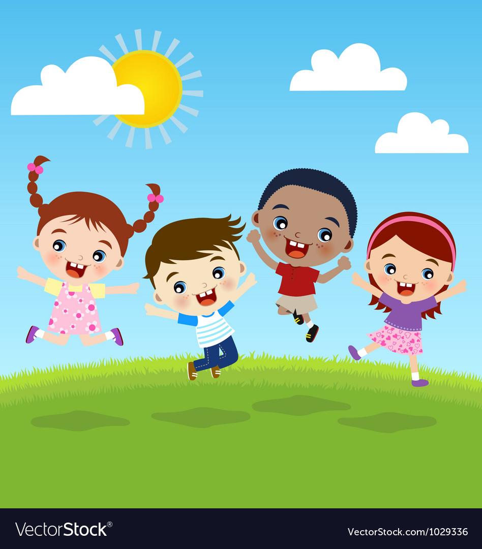happy jumping kids royalty free vector image vectorstock rh vectorstock com kids victoria's secret kids victorian shoes