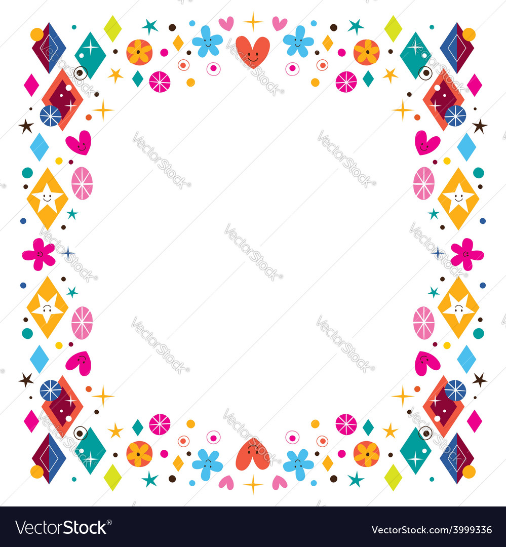 Hearts stars flowers and diamond shapes happy