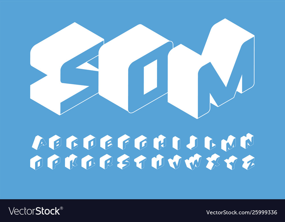 Isometry letters set 3d isometric simple style