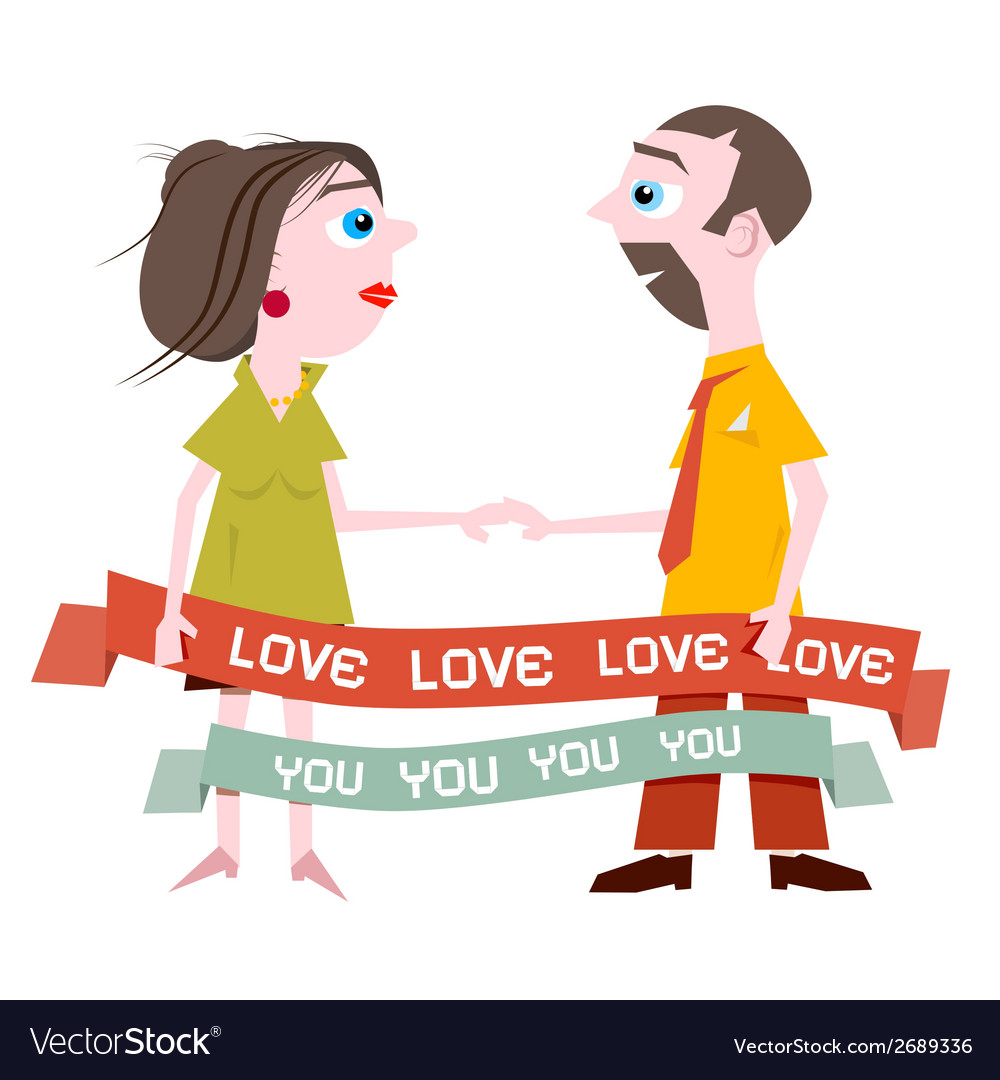 Man and Woman Holding Hands with Love You Title on