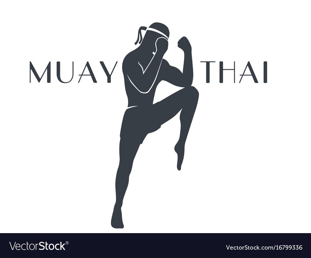 Muay thai athlete silhouette on white