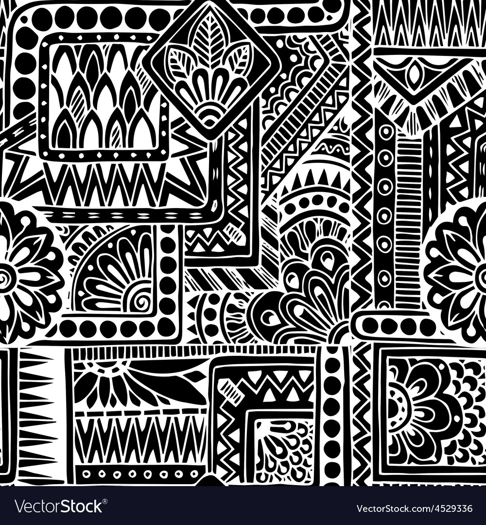 Seamless ethnic doodle black and white background