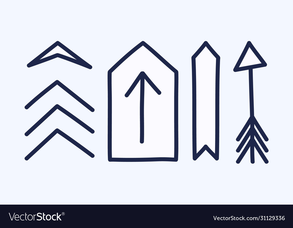 Set hand drawn different decorative arrow