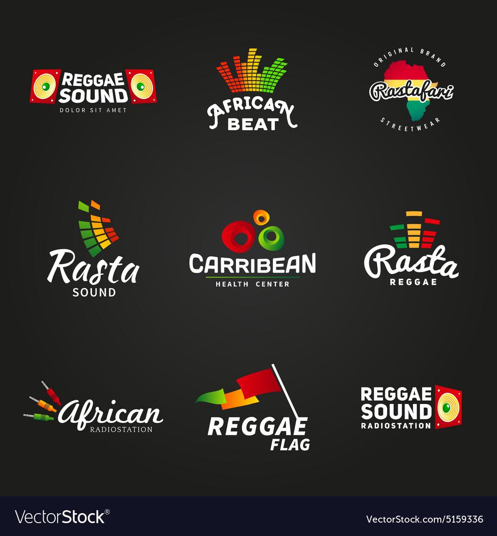 Set of african rastafari sound logo designs
