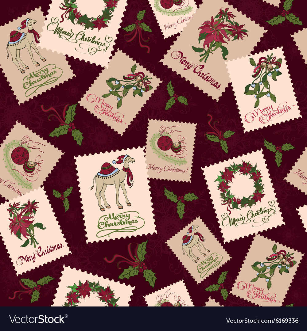 Vintage Christmas Stamps Seamless Pattern