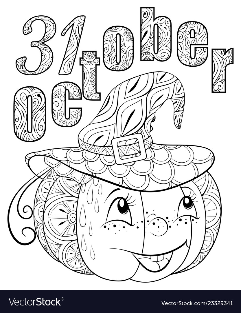 Adult coloring bookpage a cute pumpkin wearing a
