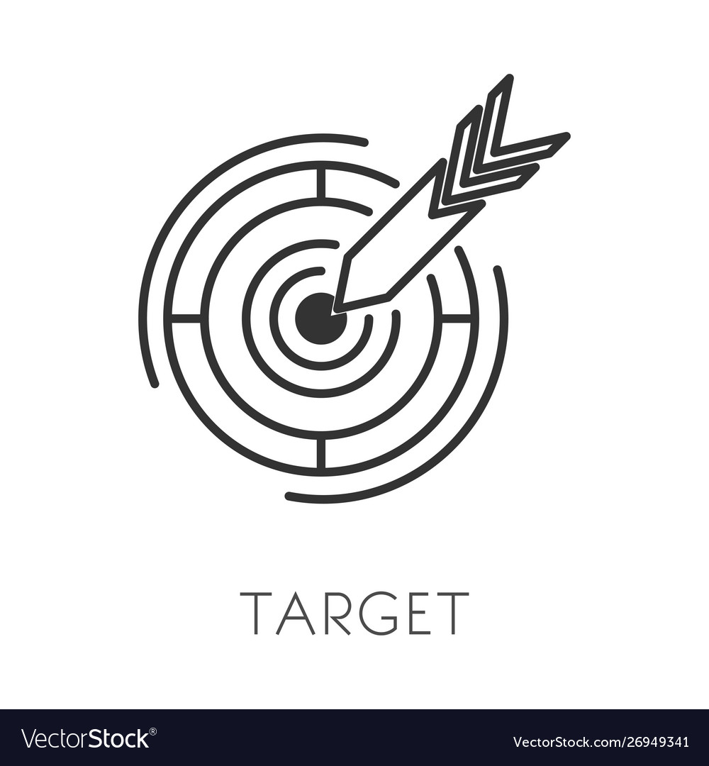 Arrow and target isolated outline icon goal