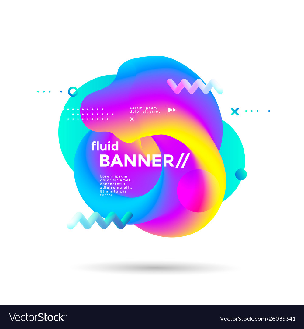 Creative design fluid banner with gradients shapes