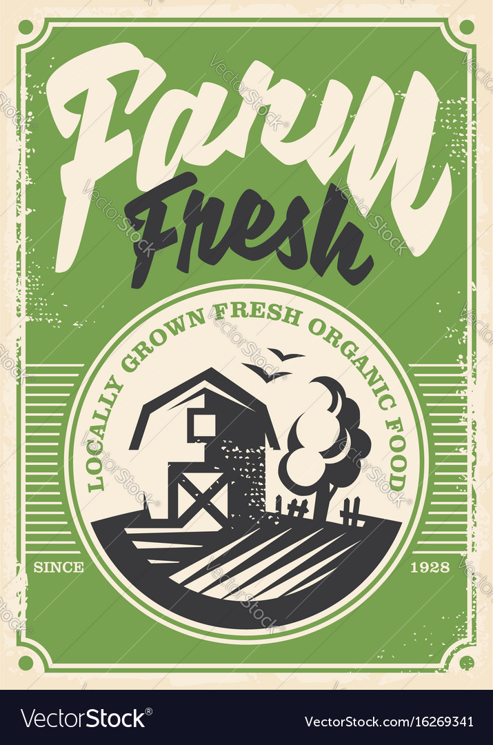 Farm fresh products retro poster vector image