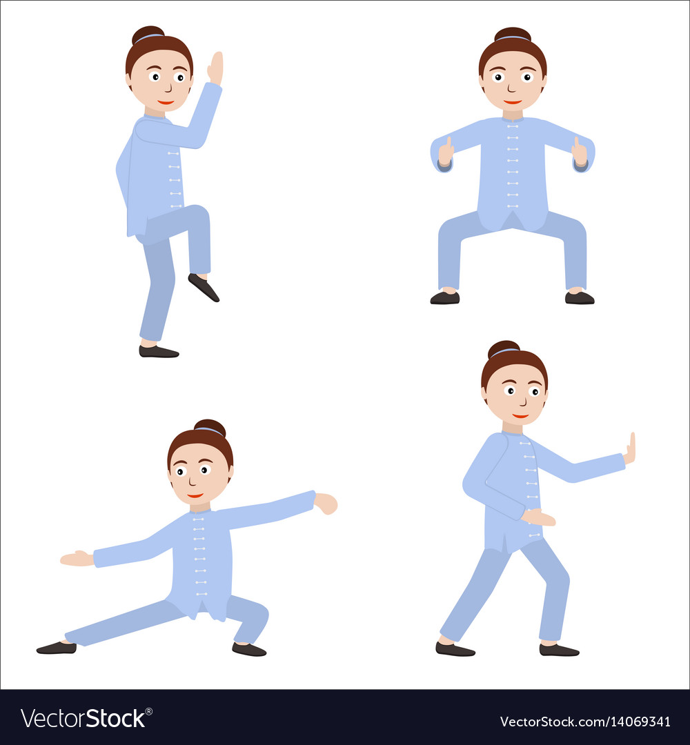 Girl performing qigong or taijiquan exercises vector image