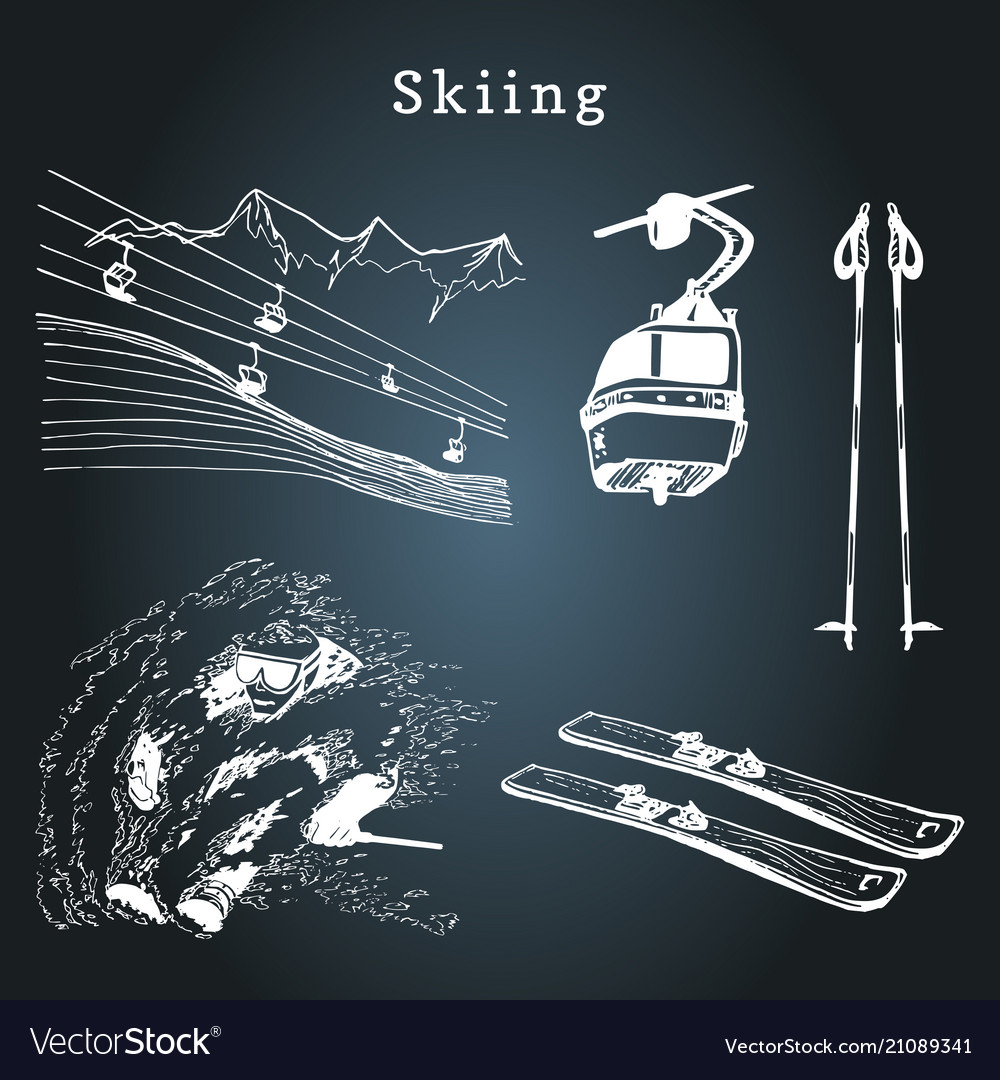 Hand sketches of skiing elements